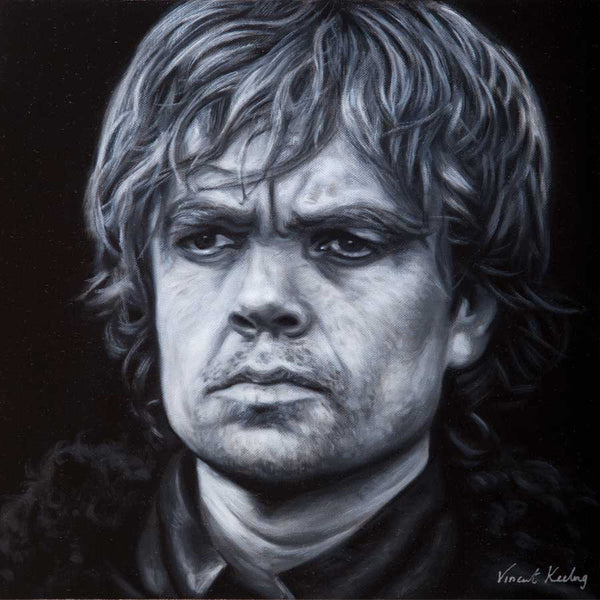 Black and white painting of Peter Dinklage, who plays the wonderful Tyrion Lannister in Game of Thrones