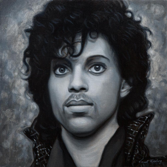 Oil painting of Prince from the When Doves Cry music video