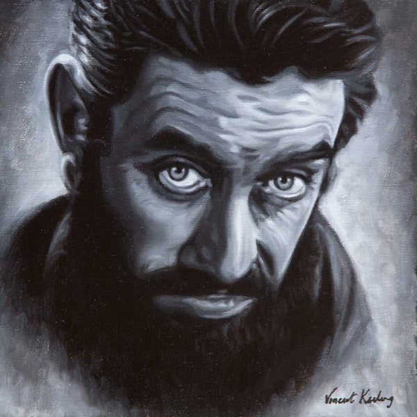 Portrait painting of Ronnie Drew, oil on linen