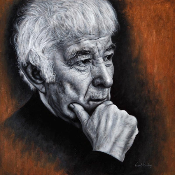 Portrait painting of Seamus Heaney, in oil on canvas