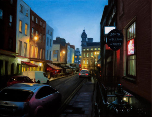 Evening Falls on South William Street - Oil Painting - SOLD