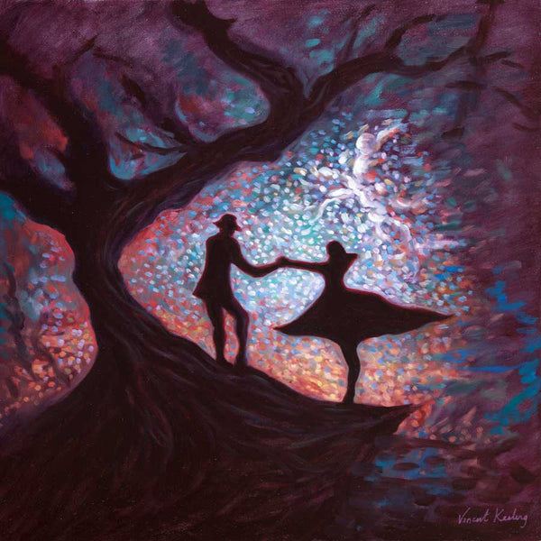 Magical setting with a man leading, or inviting a girl to follow him up a mysterious tree