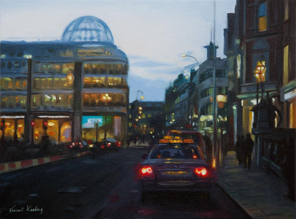 0 - Twilight on Stephen's Green, Dublin City - Oil Painting