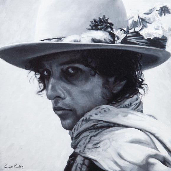 Portrait painting of Bob Dylan, in hat with feathers, in black and white