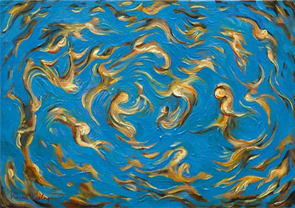 Swirling semi abstract figure forms in gold and blue