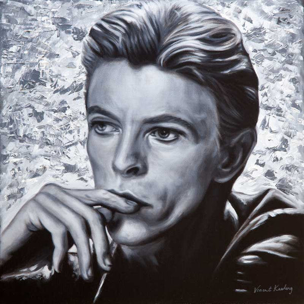 Giclee print of David Bowie from a black and white portrait painting, by Vincent Keeling