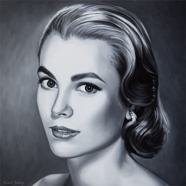 Giclee print of, Princess Grace of Monaco, from original portrait painting, by Vincent Keeling