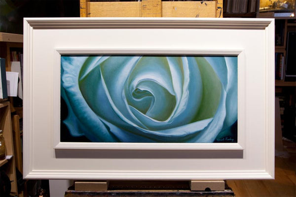 Into the heart, oil painting of white rose in a white frame
