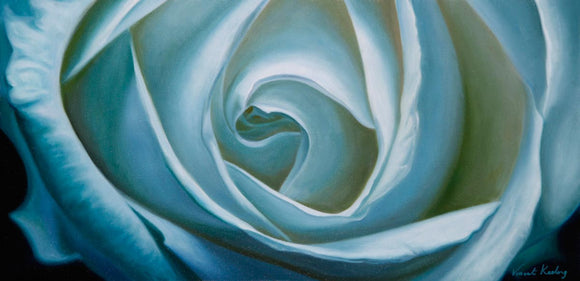 Oil painting of a white rose, in tones of blue and green, and titled