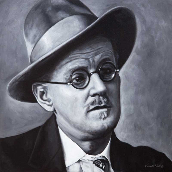 Portrait of James Joyce in black and white