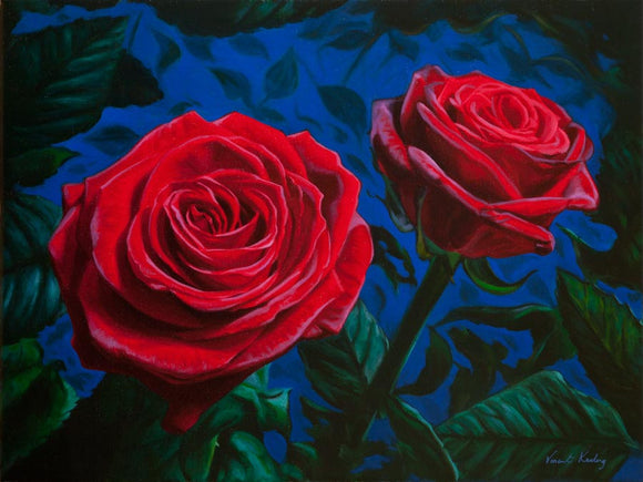 Fine art print, of red roses, from oil painting, by artist Vincent Keeling
