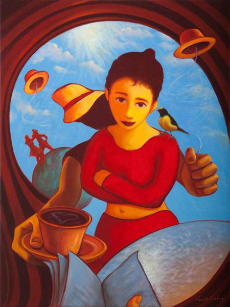 Colouful painting of a girl in red, standing before a customer in a cafe reading a book. Also coffee and flying hats featured