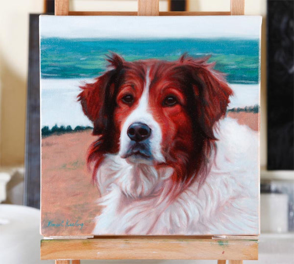 Portrait painting of Rufus the dog