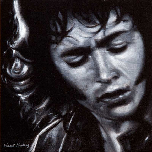 Portrait painting of Irish blues guitarist and singer Rory Gallagher