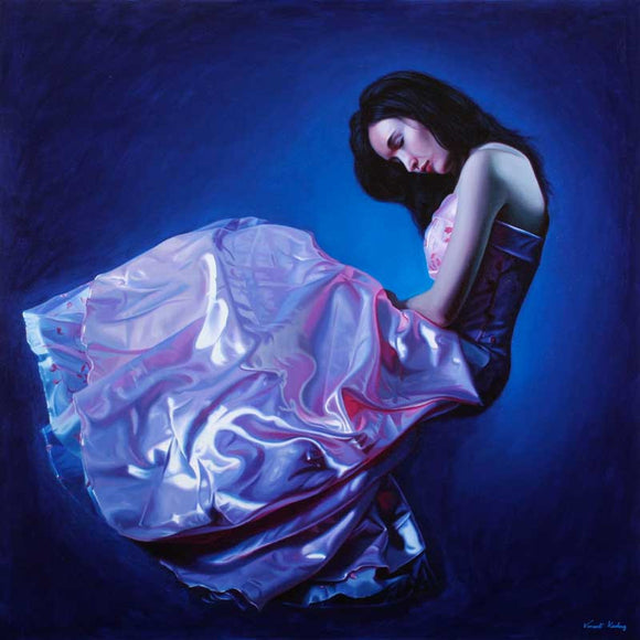 Print of a girl in a lush satin dress seemingly floating against a blue background