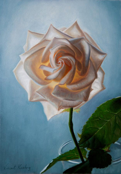SOLD - White Rose, Warm Glow