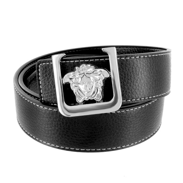 Medusa Design Belt Buckle In White Gold With Black Leather Belt 36 MM