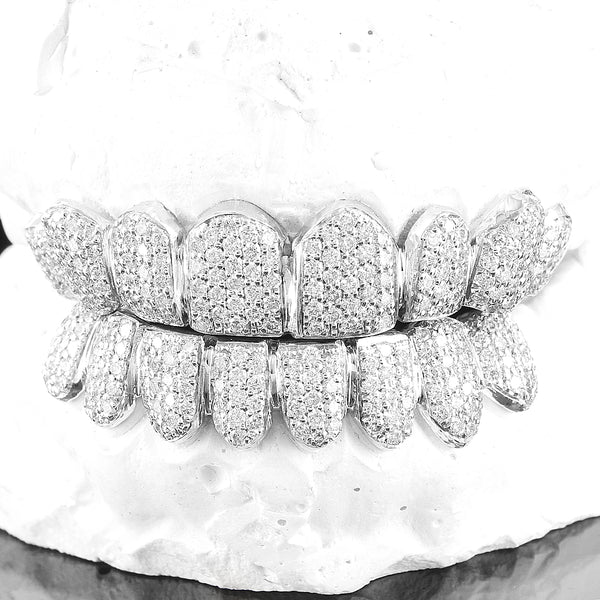 10K Gold Honey Comb Setting Genuine SI Real Diamonds Grillz