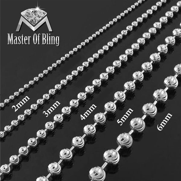 Sterling Silver Moon Cut Bead Necklace 3mm Chain 36