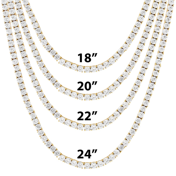 New 10K Gold Tennis Chain 3MM One Row Prong Set Necklace