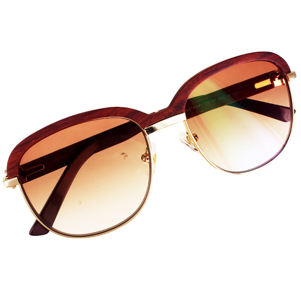 Vintage Brown Lens Buff Wooden Frame Custom Sunglasses