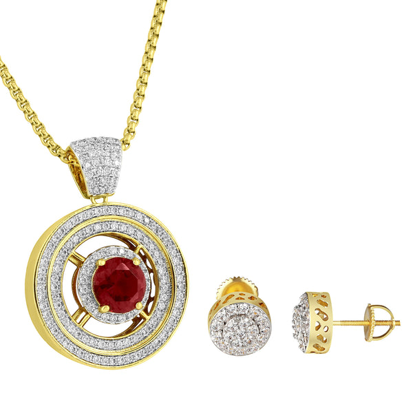 Red Ruby CZ Pendant Cluster Set Halo Stud Earrings 14k Gold Tone Iced Out Chain