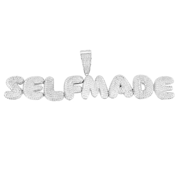 Silver Men's Self Made Iced Out Bubble Letter Solid Back Pendant