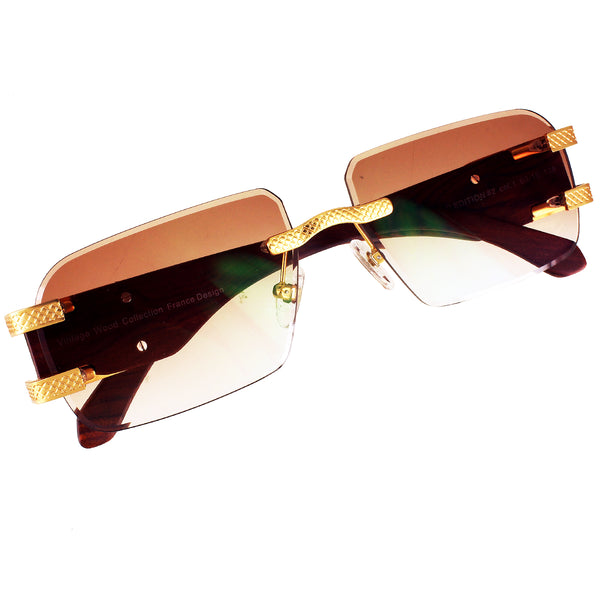 Mens Brown Light Lens Wooden Frame Buff Vintage Sunglasses