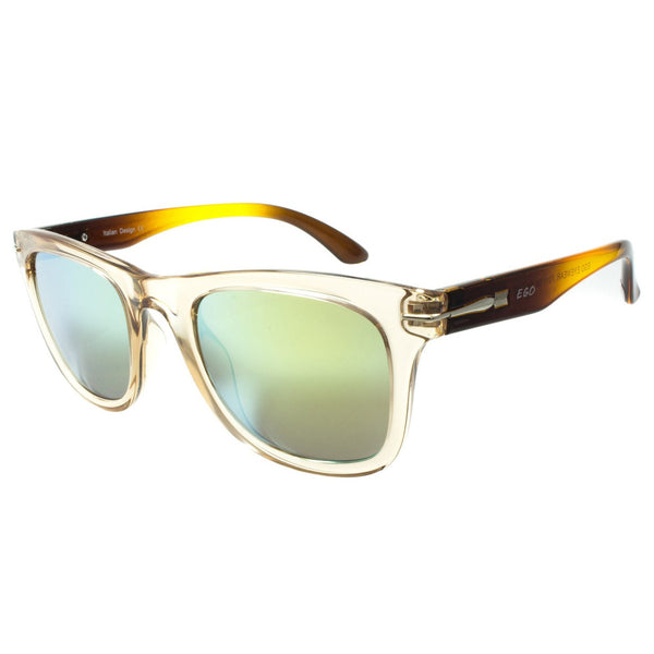 Orange Shade Temple Aviator Sunglasses Green Lenses