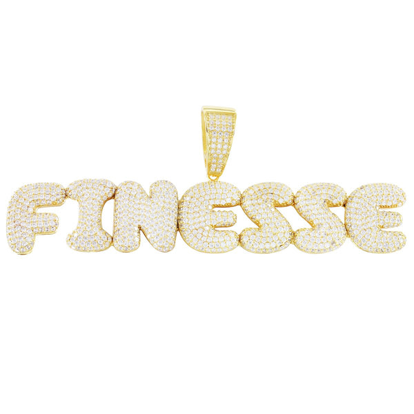 Gold Tone Finesse  Bubble Letters Solid Back Pendant