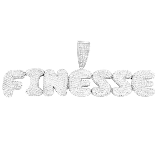 Silver Finesse Bling Rapper Bubble Letters Solid Back Pendant