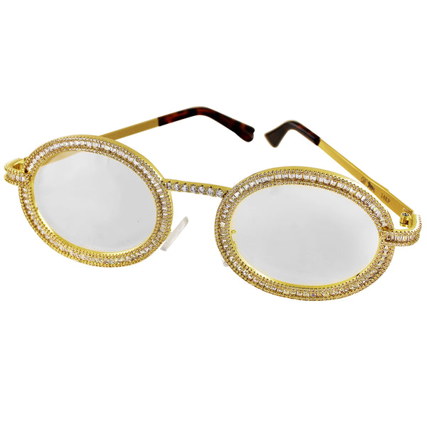 Baguette Metal Frame Animal Print Gold Tone Hip Hop Glasses