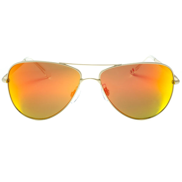 Aviator Sunglasses Fire Lens Orange Red Mirror Lens Metal Frame