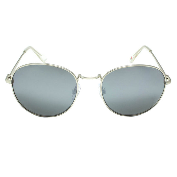 Vintage Mens Sunglasses Round Metal Frame Blue Shades Eye Wear Retro Silver Frame
