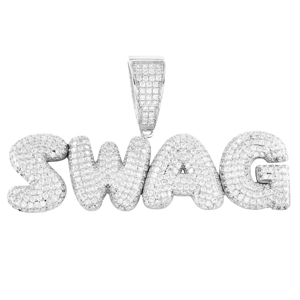 Silver Bling Swag Mini Solid Back Bubble Hip Hop Pendant