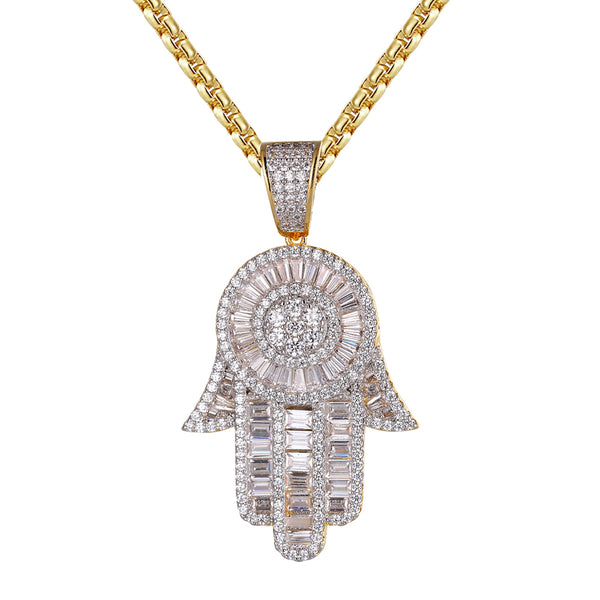 Hamsa Hand Baguette Micro Pave Religious 14k Gold Finish Pendant