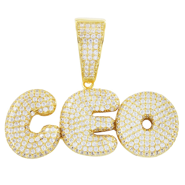 Men's Rich CEO  Gold Finish Solid Back .925 Pendant