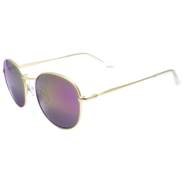 Purple Shades Lens Gold Frame Round Mirror Lens