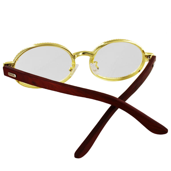 Round Icy Wooden Frame Custom Gold Tone Designer Glasses