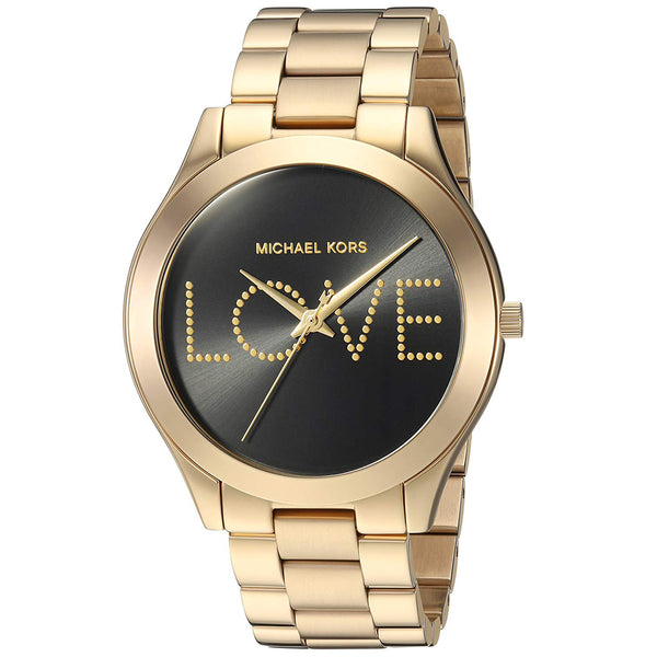 Michael Kors MK3803 Slim Runway Black Love Dial Ladies Watch