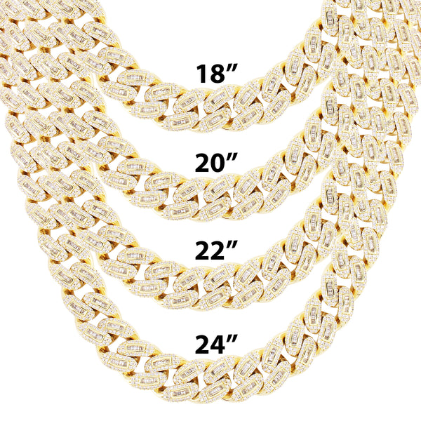 Men's 14mm Baguette Iced Out Miami Cuban Custom Necklace