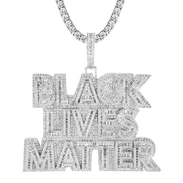 Sterling Silver Black Lives Matter Baguette Icy Unity Pendant