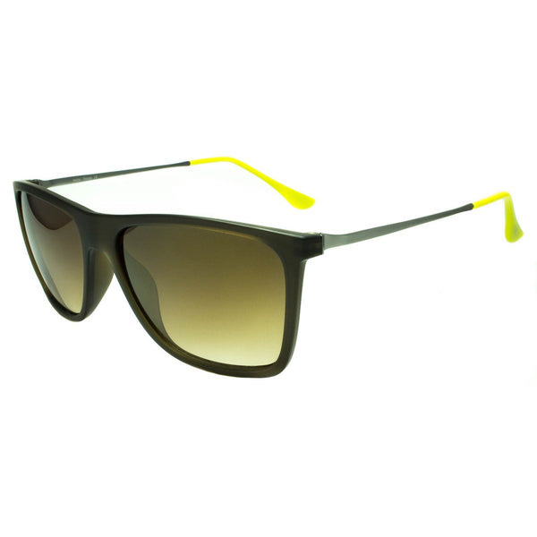 Brown Shades Sunglasses Wayfarer Lime Green Temple Tips Black Frame