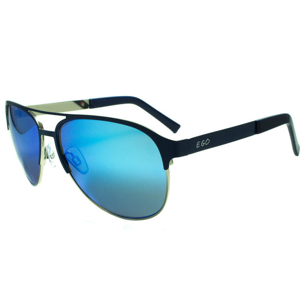 Sunglasses Ocean Blue Lens Metal Black Frame Blogger Retro Mens Mirror Lens