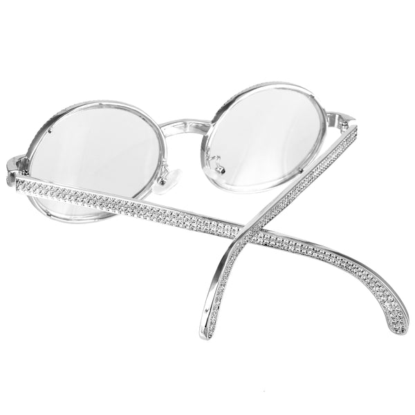 Silver Round Lens Metal Icy Frame Hip Hop Rapper Glasses