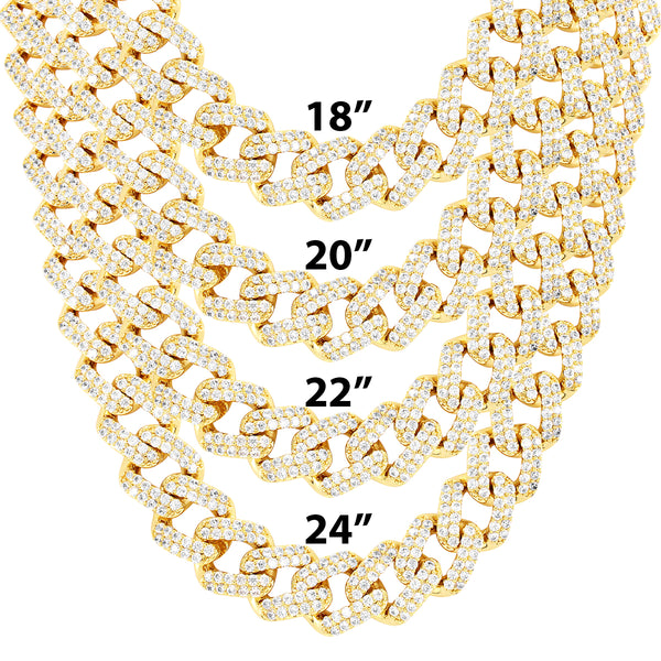 Men's 15mm Miami Cuban Iced Out Box Lock 18-24
