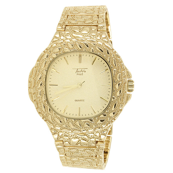 Men's Gold Tone Square Face Nugget Style Band Watch