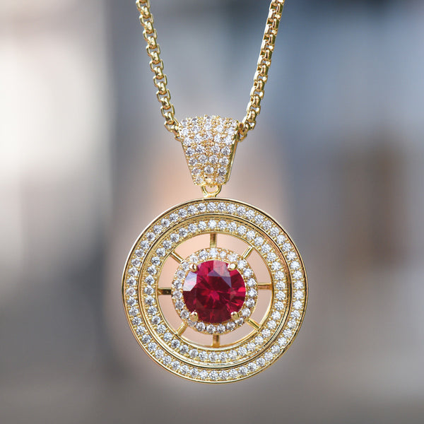 Red Ruby 14K gold finishround medallion charm