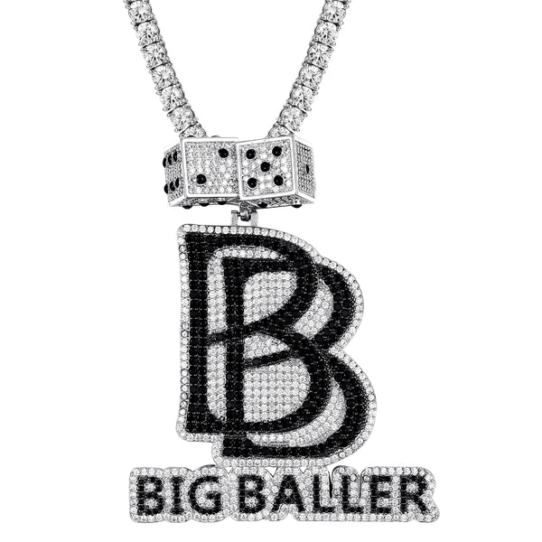 Black Big Baller Double Dice Rich Icy Hip Hop Pendant
