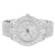 Hip Hop Men's Silver Tone Solitaire Watch Metal Band